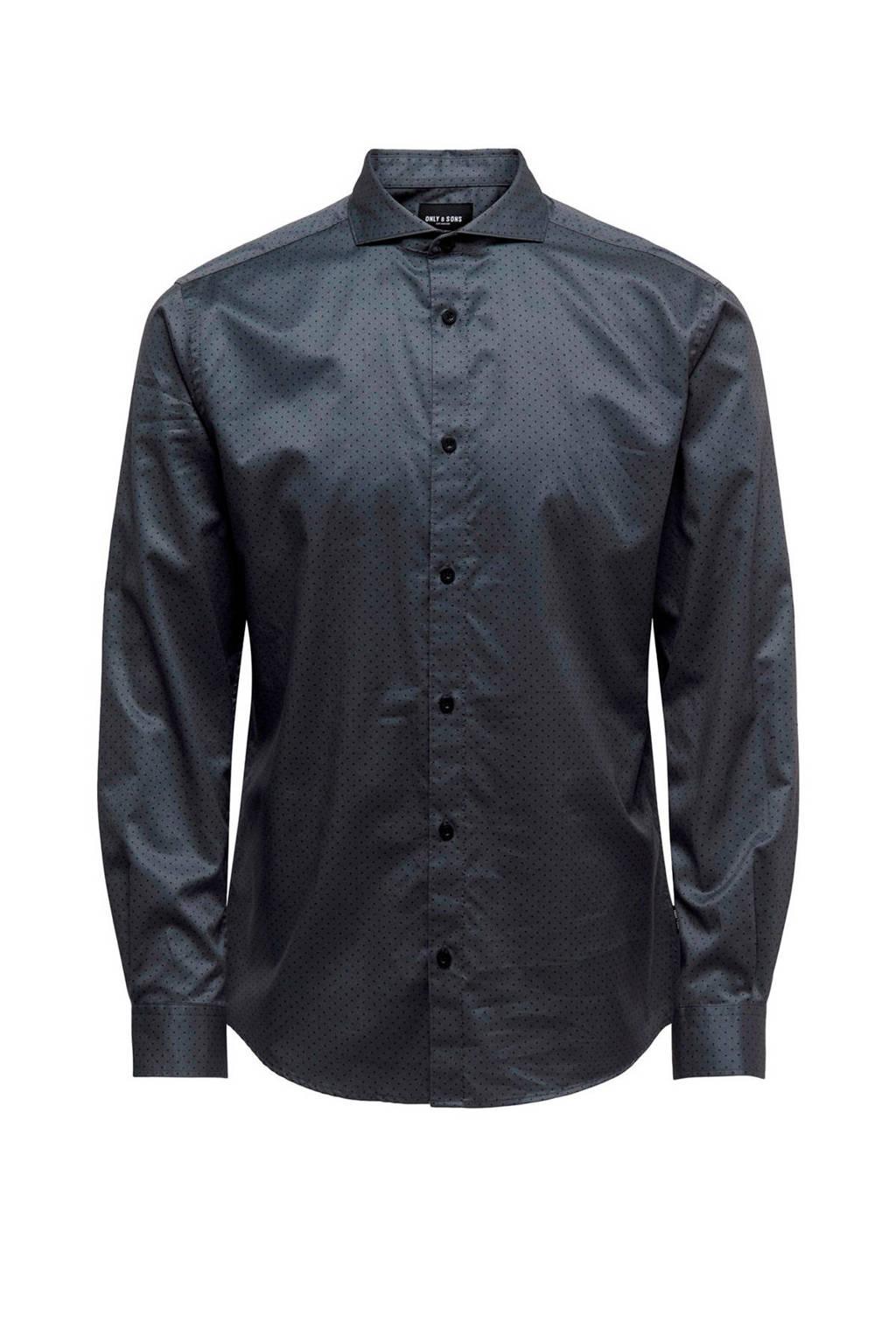ONLY & SONS regular fit overhemd met all over print antraciet/zwart, Antraciet/zwart