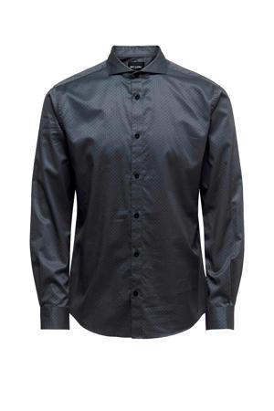 regular fit overhemd met all over print antraciet/zwart