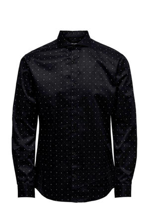 regular fit overhemd met all over print zwart/wit