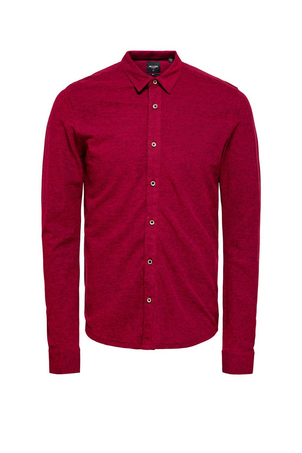 ONLY & SONS gemêleerd regular fit overhemd rood, Rood