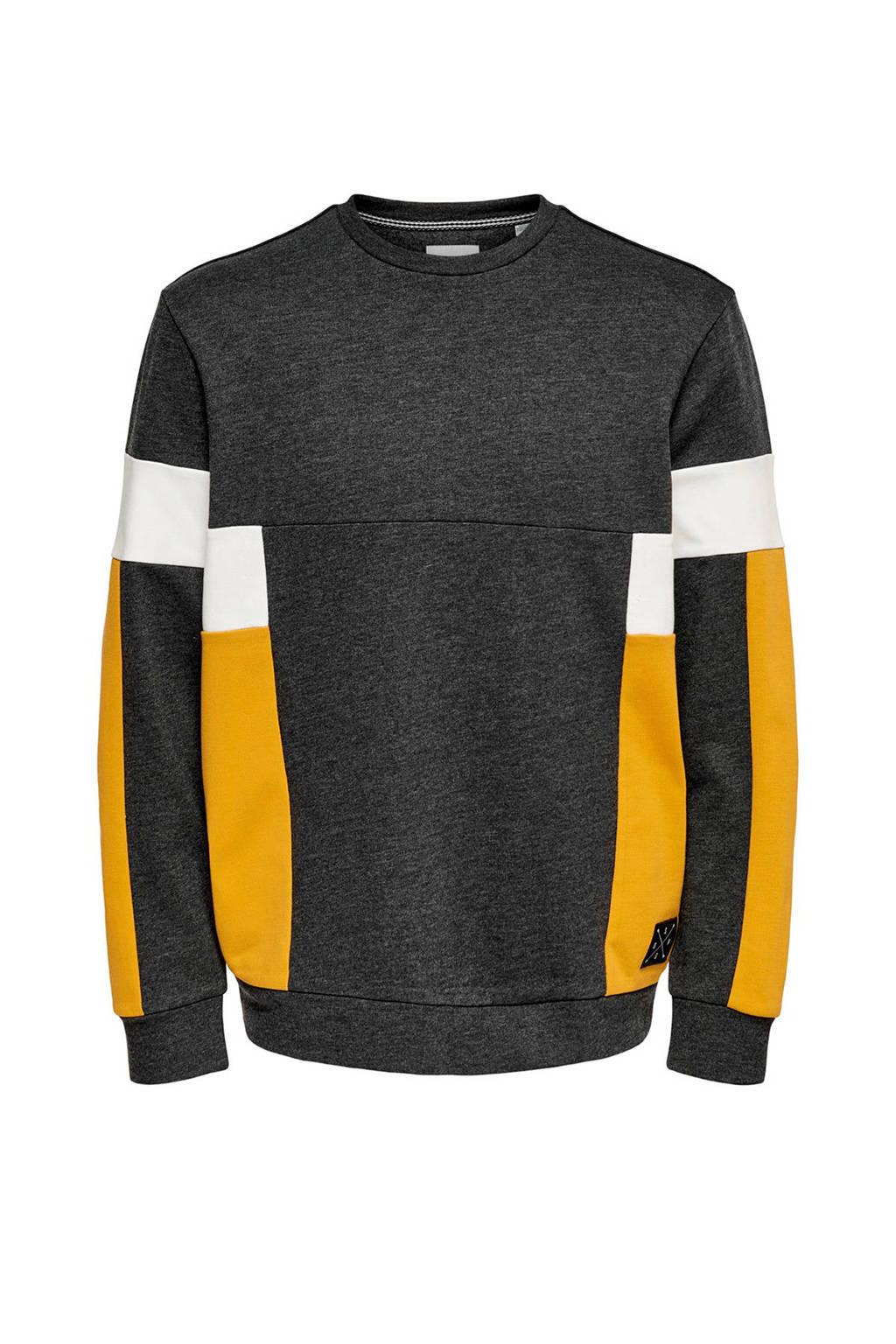 ONLY & SONS sweater zwart/wit/geel, Zwart/wit/geel