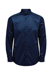 ONLY & SONS regular fit overhemd met all over print donkerblauw/wit, Donkerblauw/wit