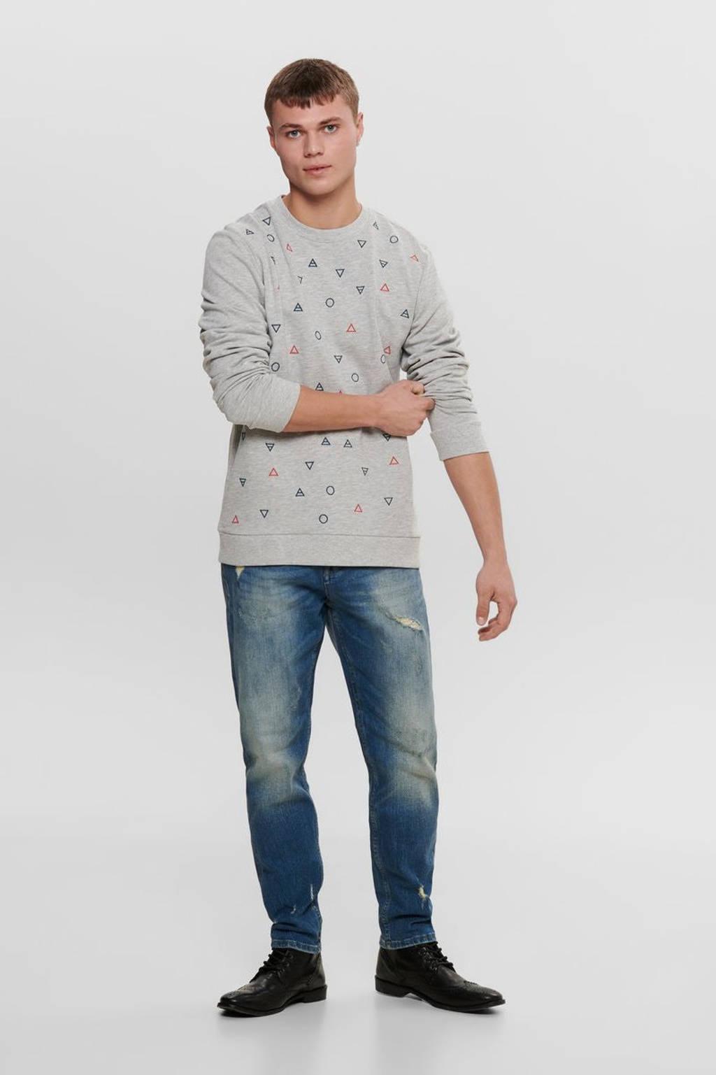 ONLY & SONS sweater met all over print grijs, Grijs