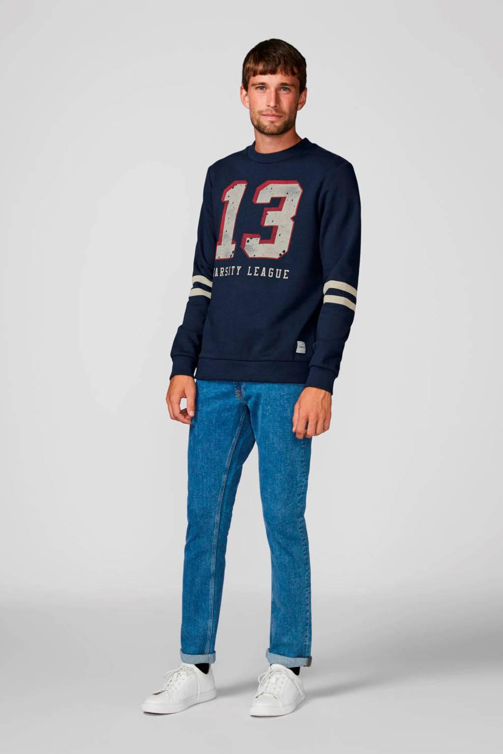 PRODUKT sweater met printopdruk donkerblauw, Donkerblauw