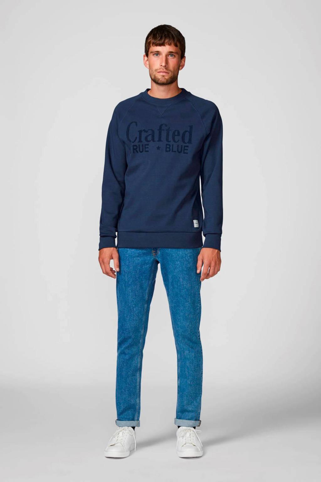 PRODUKT sweater met tekst donkerblauw, Donkerblauw