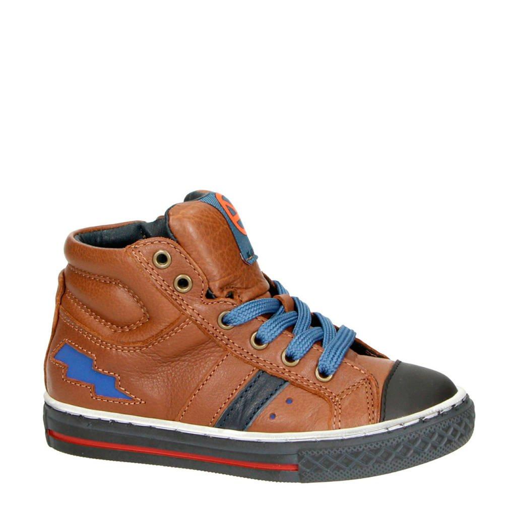 Kipling   Basket 1 leren sneakers cognac/blauw, Cognac