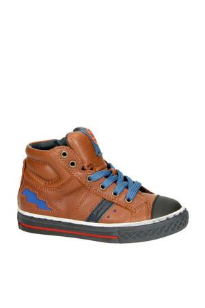 Basket 1 leren sneakers cognac/blauw