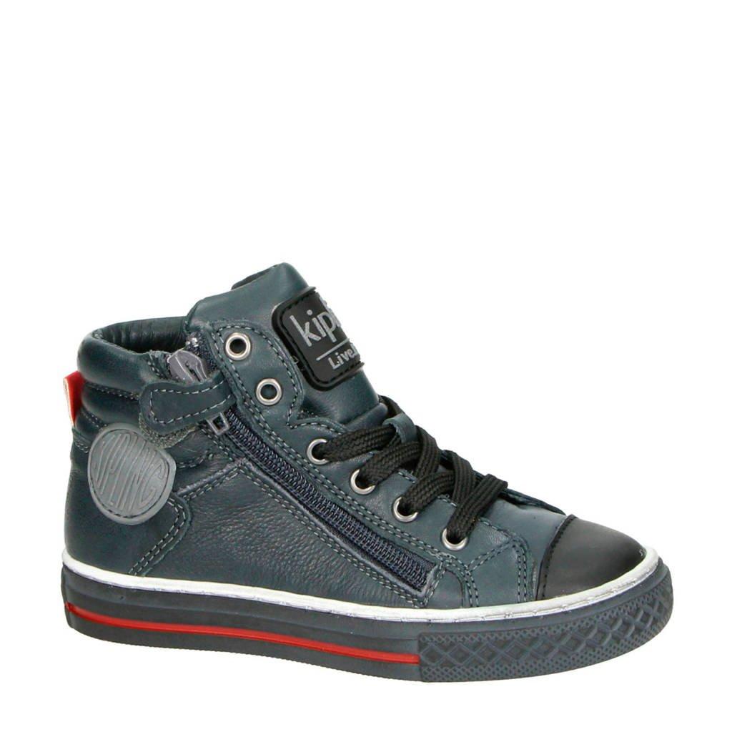Kipling   Brave 1 leren sneakers antraciet, Antraciet/zwart