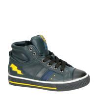 Kipling   Basket 1 leren sneakers zwart/geel, Zwart/geel