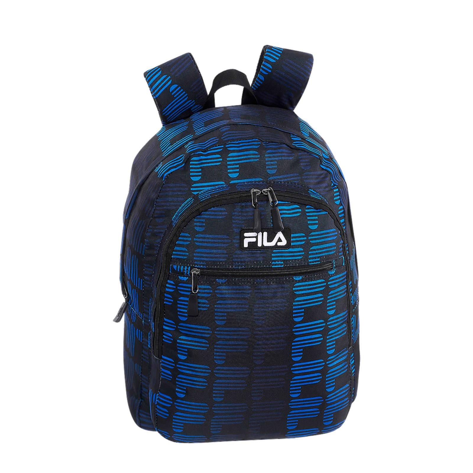 Zwarte rugtas blauw detail Fila maat