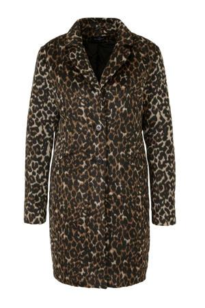 The Outerwear coat met panterprint zwart/bruin