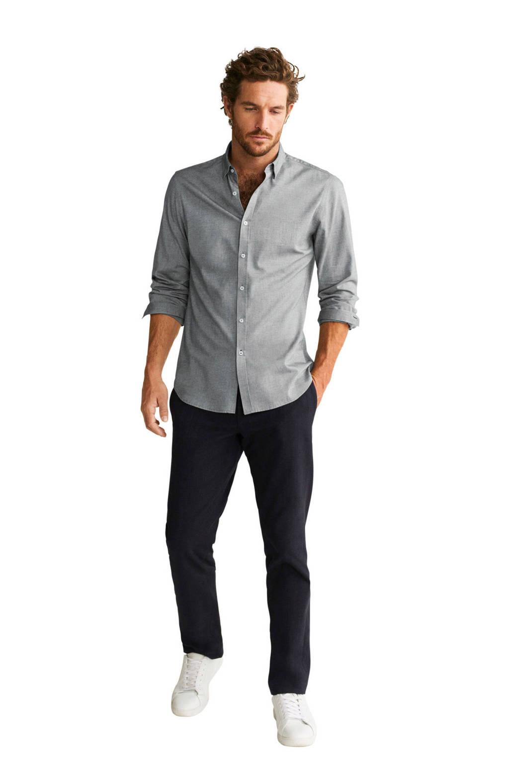 Mango Man gemêleerd slim fit overhemd grijsblauw, Grijsblauw
