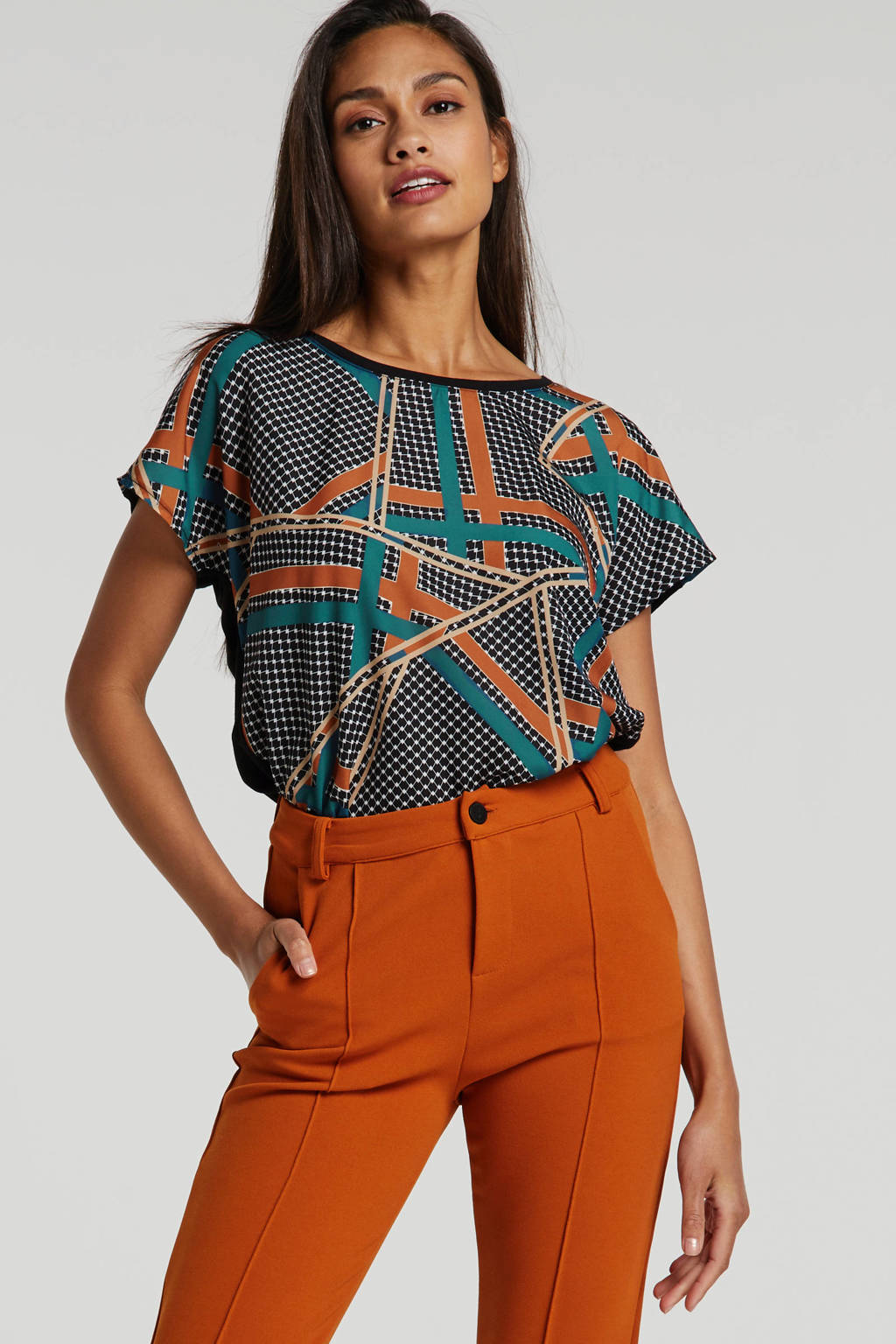 Soyaconcept top met all over print groen, Groen