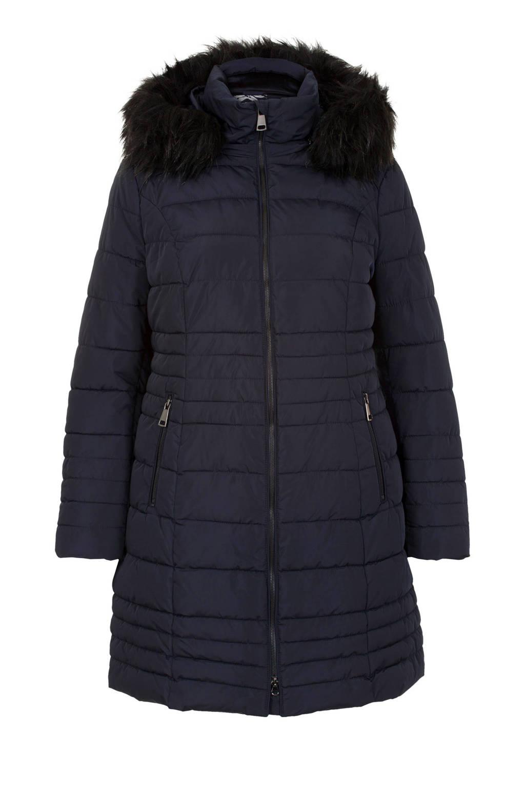 Miss Etam Plus winterjas donkerblauw, Donkerblauw