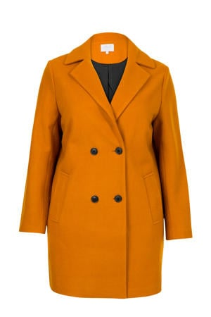 Plus coat met wol oker