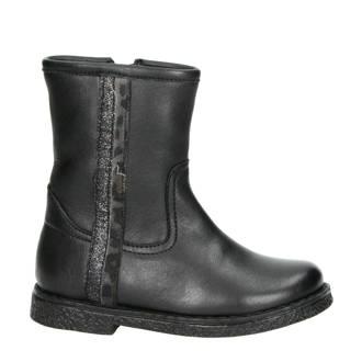 leren laarzen zwart/panterprint