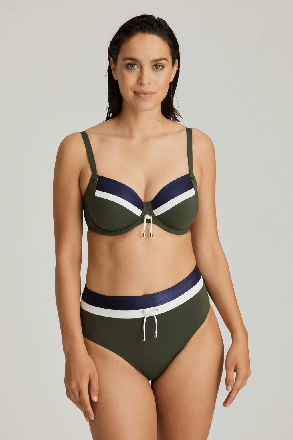 PrimaDonna high waist bikinibroekje Ocean Drive groen, Blauw / kaki / wit