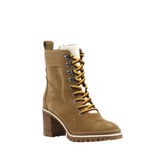 Sporty Outdoor Mid Heel Lace Up veterboots camel
