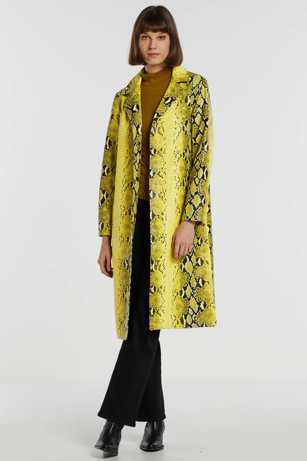 NA-KD imitatieleren trenchcoat met slangenprint geel/zwart, Geel/zwart
