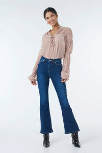 NA-KD high waist flared jeans donkerblauw, Donkerblauw