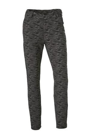 slim fit pantalon Sofie met zebraprint zwart