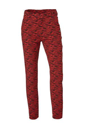 slim fit broek Sofie met zebraprint rood/zwart
