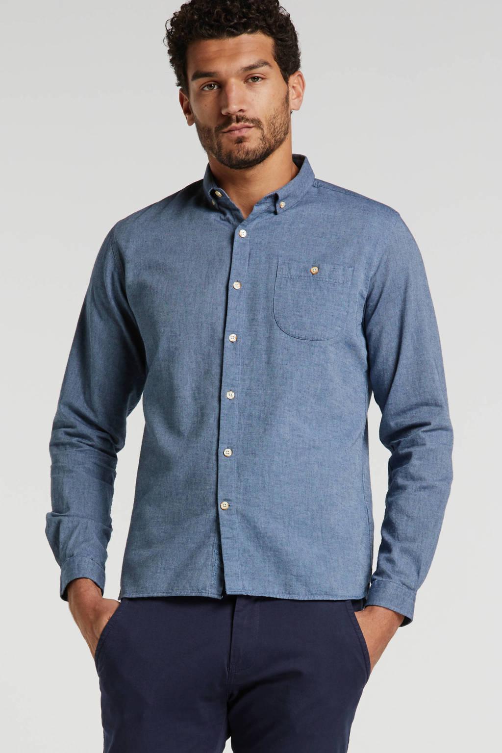Knowledge Cotton Apparel regular fit overhemd van biologisch katoen blauw, Blauw