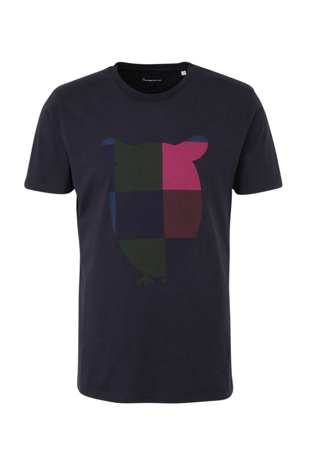 Knowledge Cotton Apparel T-shirt met printopdruk donkerblauw/groen/roze/zwart, Donkerblauw/groen/roze/zwart