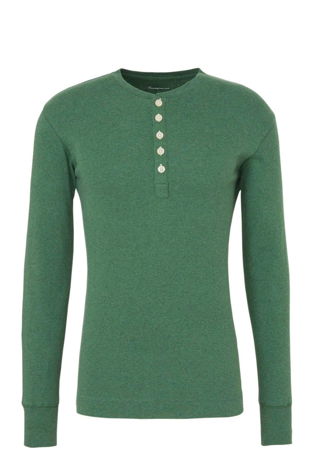 Knowledge Cotton Apparel gemêleerd T-shirt van biologisch katoen groen, Groen