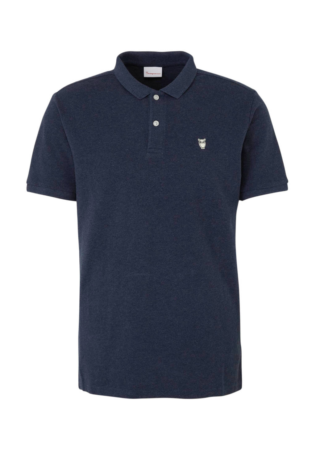 Knowledge Cotton Apparel gemêleerde regular fit polo blauw, Blauw