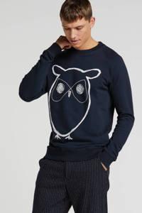 Knowledge Cotton Apparel sweater met logo marine/wit, Marine/wit