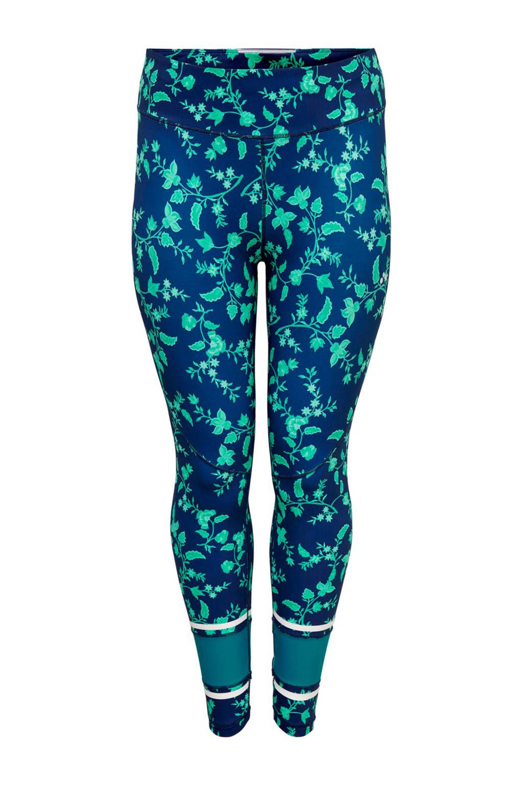 Only Play Curvy sportbroek bloemenprint, Blauw/groen
