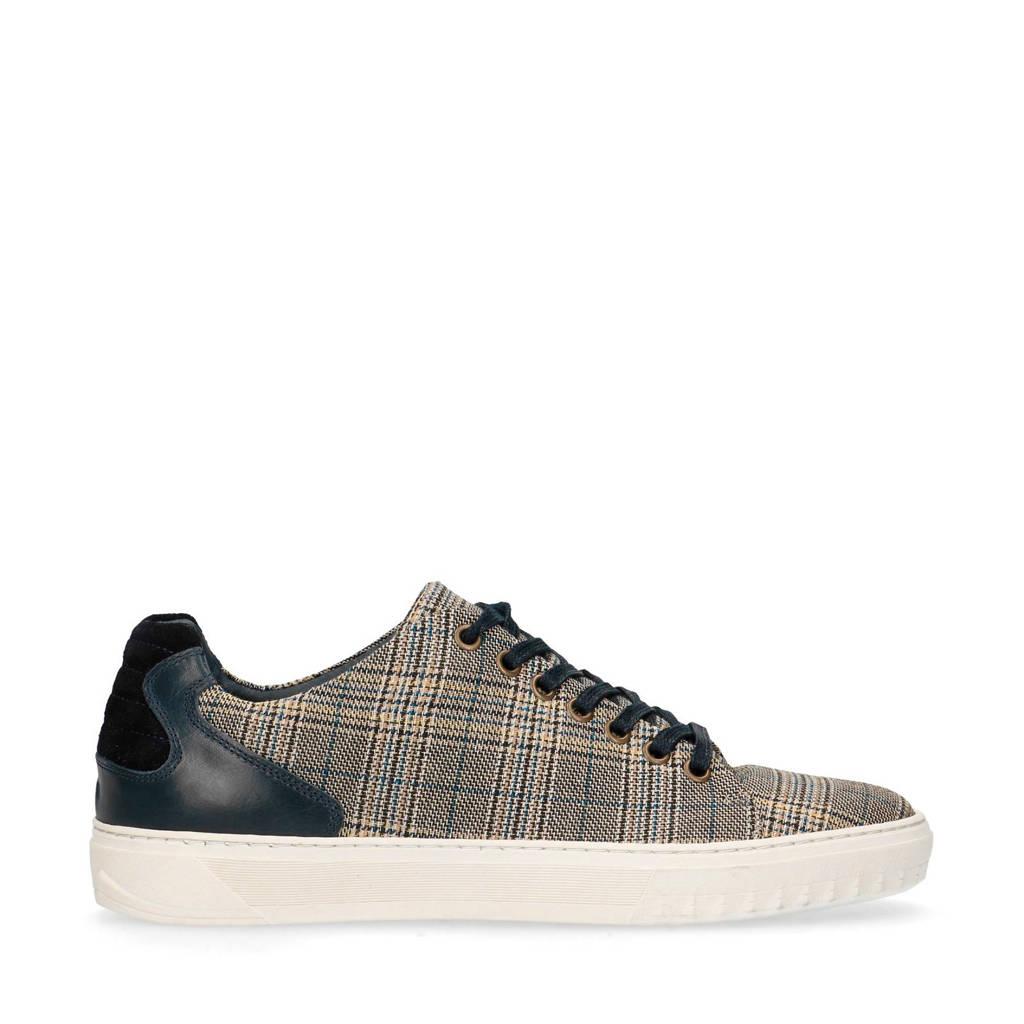 Sacha   leren sneakers zwart/bruin, Zwart/bruin