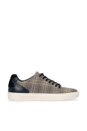 leren sneakers zwart/bruin