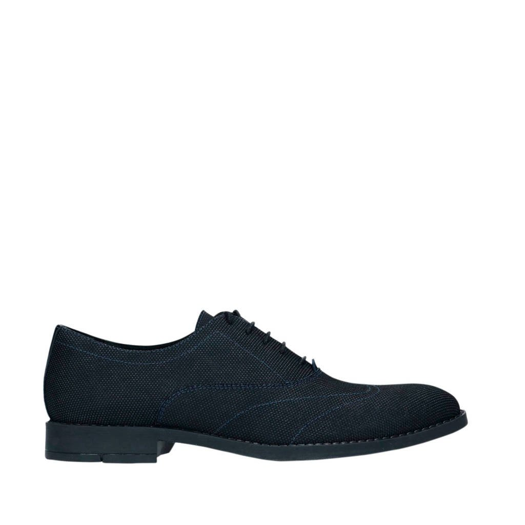 Sacha   veterschoenen zwart/blauw, Zwart/blauw