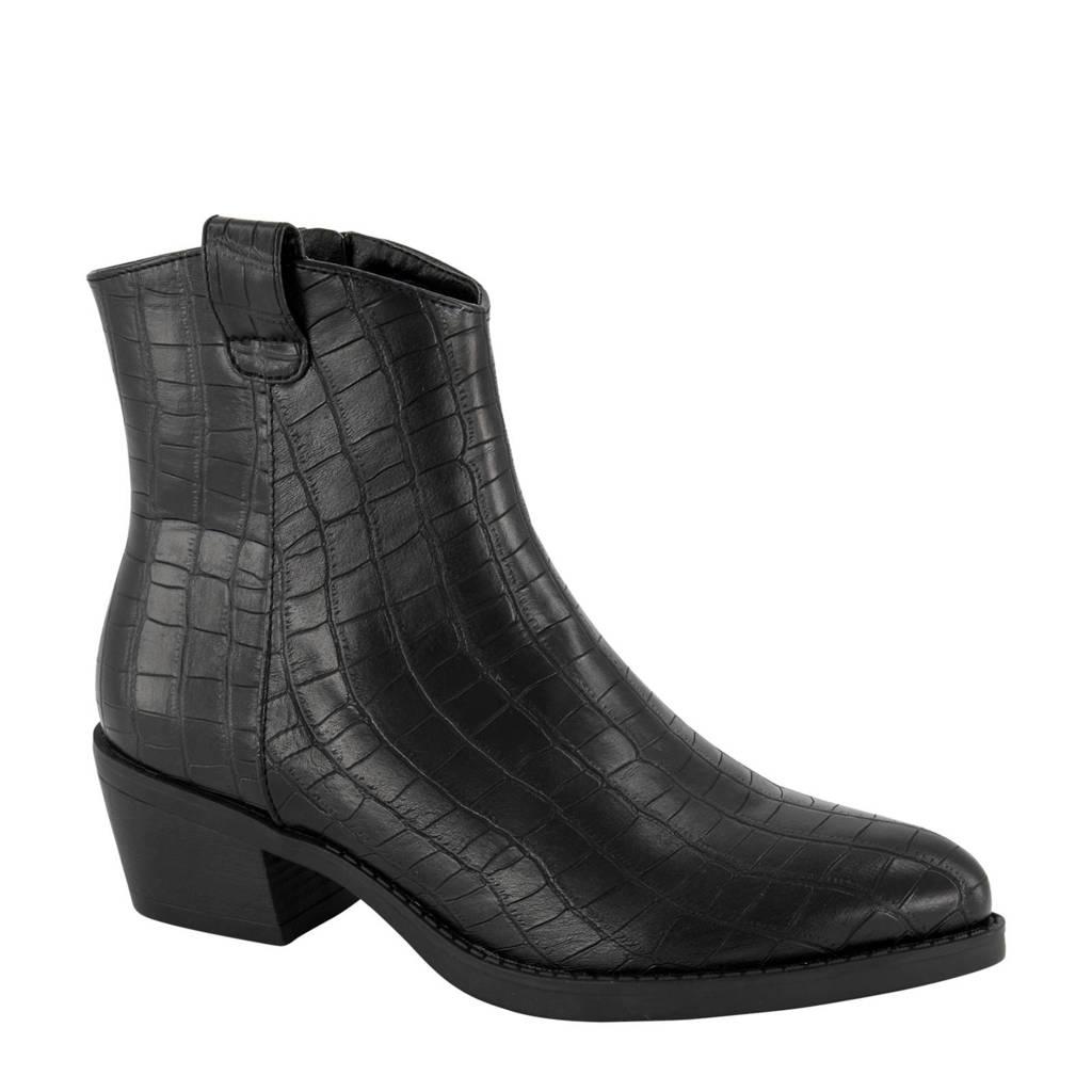 Graceland   enkellaarzen crocoprint zwart, Zwart