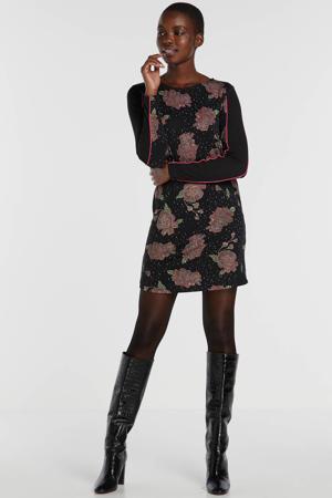 jersey jurk met contrastbies zwart