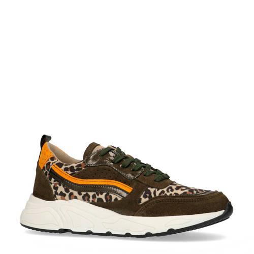 PS Poelman su??de chunky sneakers panterprint/oker