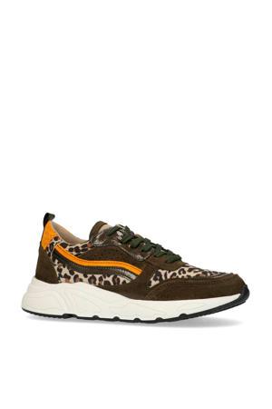 suède chunky sneakers panterprint/okergeel