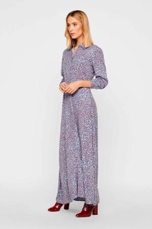 blousejurk met bladprint lichtblauw