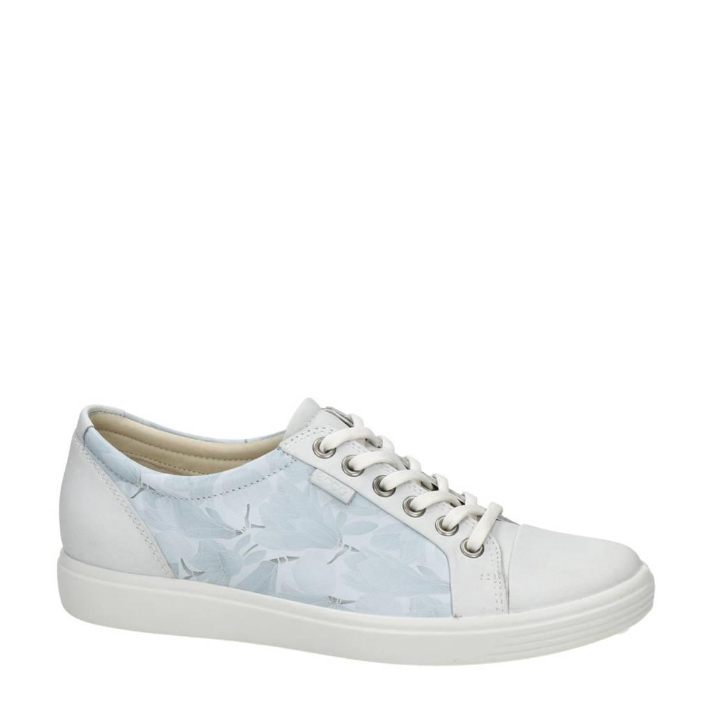 Ecco Soft 7 comfort leren veterschoenen lichtblauw, Lichtblauw/wit