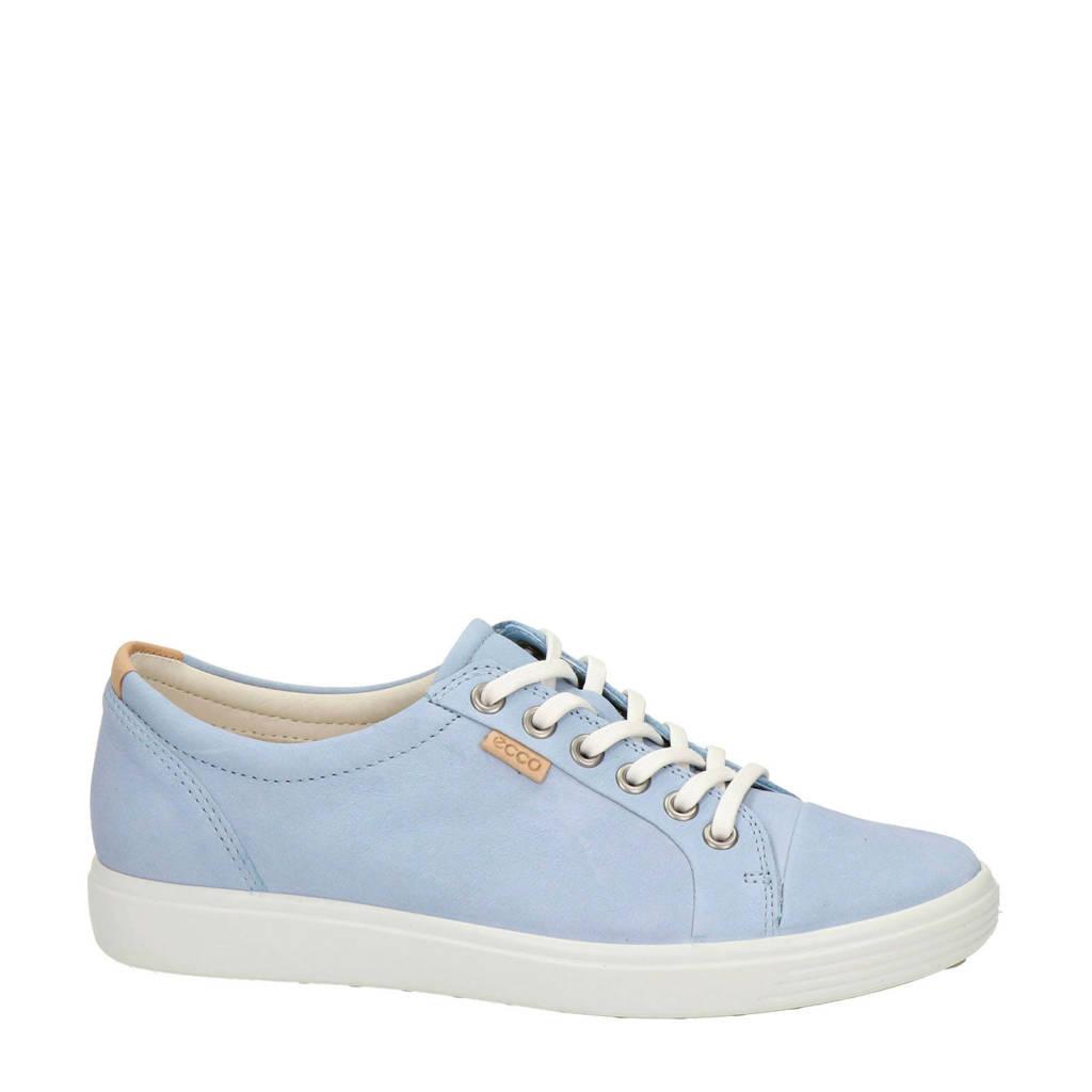 Ecco Soft 7  nubuck veterschoenen lichtblauw, Lichtblauw