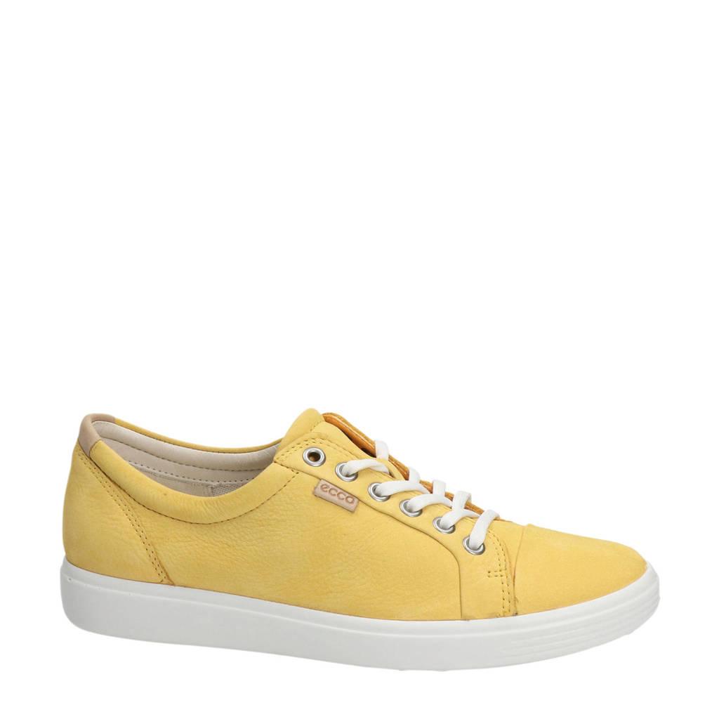 Ecco Soft 7  nubuck veterschoenen geel, Geel