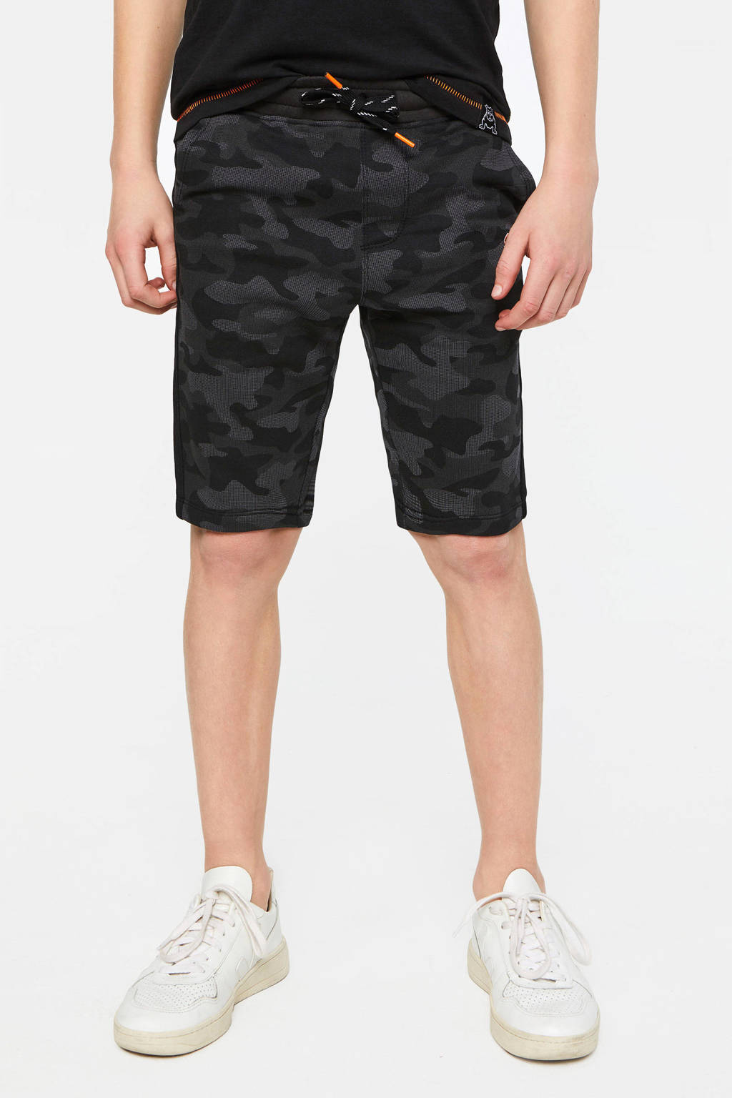 WE Fashion Salty Dog sweatshort met tekst zwart, Zwart