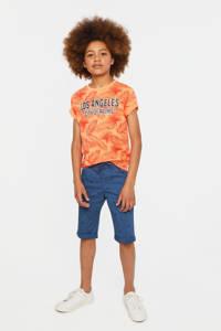 WE Fashion Blue Ridge slim fit bermuda met all over print blauw, Blauw
