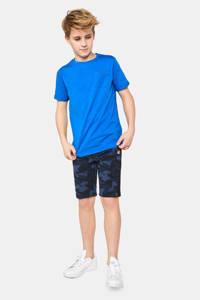 WE Fashion sweatshort met camouflageprint donkerblauw/blauw, Donkerblauw/blauw