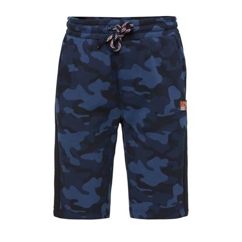 WE Fashion sweatshort met camouflageprint donkerbl