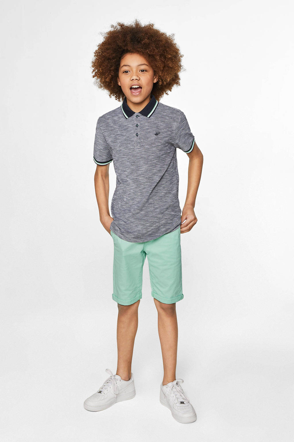 WE Fashion straight fit bermuda groen, Groen