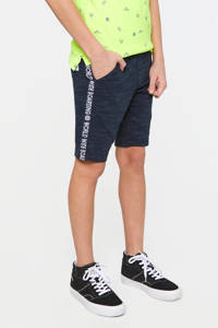 WE Fashion sweatshort met tekst donkerblauw, Donkerblauw