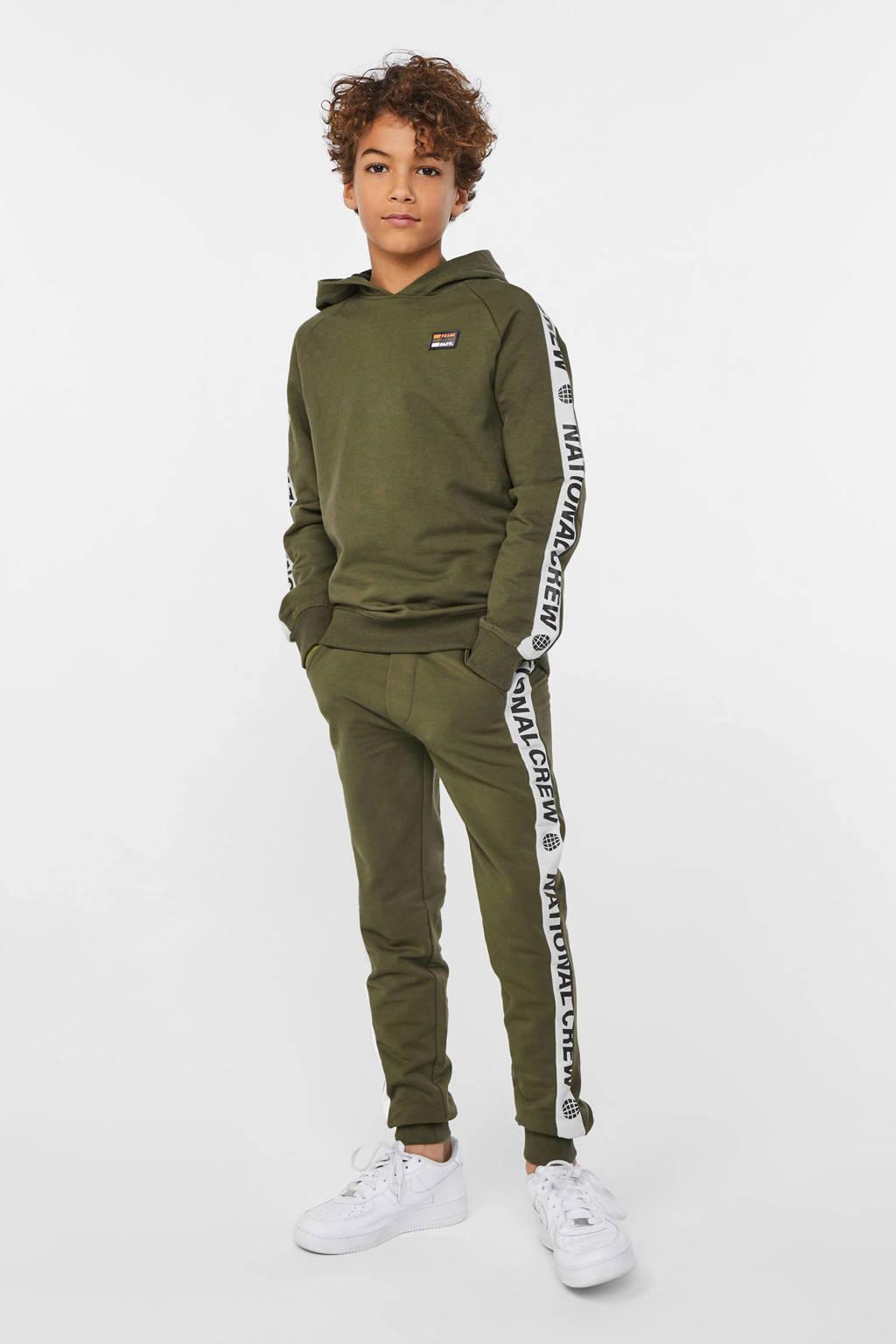 WE Fashion hoodie met contrastbies donkergroen/wit/zwart, Donkergroen/wit/zwart